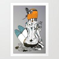 redhead Art Prints featuring Redhead by Zinaida Kazantseva