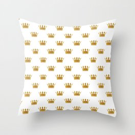 Wedding White Gold Crowns Throw Pillow