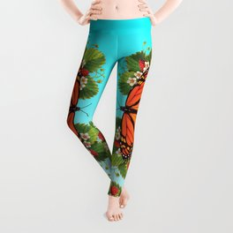 Monarch Butterfly with Strawberries on Aqua Leggings