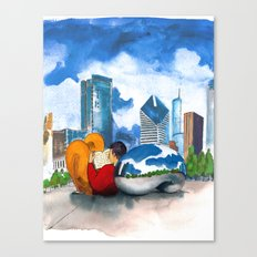 Cloud Gate with Reader Canvas Print