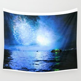 blue fire Wall Tapestry