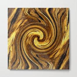 Gold Brown Abstract Sun Rotation Pattern Metal Print