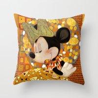 gustav klimt Throw Pillows featuring Minnie Mouse - Gustav Klimt Style by Zimeta
