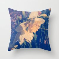 rileigh smirl Throw Pillows featuring Daffodil by Rileigh Smirl