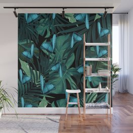 Tropical Butterfly Jungle Night Leaves Pattern #5 #tropical #decor #art #society6 Wall Mural
