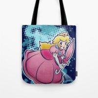 princess peach Tote Bags featuring Princess Peach by PastaSaladBowl