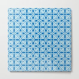 Ethic tile pattern 1 blue Metal Print