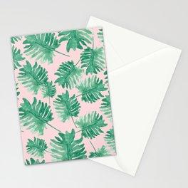 Plants on Pink Monstera Leaf Pattern Stationery Cards