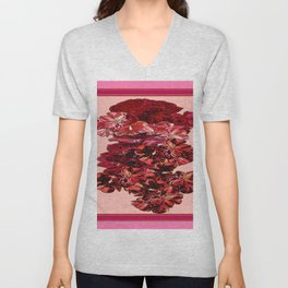 Cranberry-Pink Color Floral Brown Pattern Unisex V-Neck