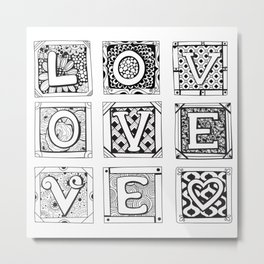 Love - Doodled cards with letters Metal Print