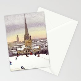 Norwich Cathedral in the Snow Stationery Cards