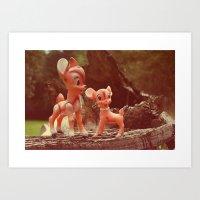 bambi Art Prints featuring Bambi by Teodoru Badiu