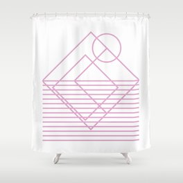 Goemetric sunset in pink Shower Curtain