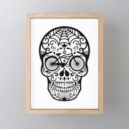 Vintage Mexican Skull with Bicycle - black and white Framed Mini Art Print