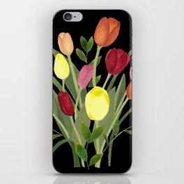 Tulips - black iPhone Skin
