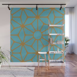 Blue and Orange Tiles Wall Mural
