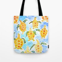 turtles Tote Bags featuring Turtles by Julie Lehite