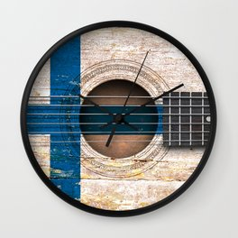 Old Vintage Acoustic Guitar with Finnish Flag Wall Clock