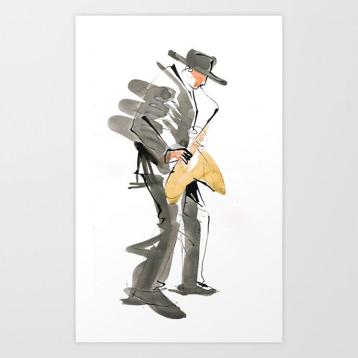 Musician Jazz Saxophone Art Print