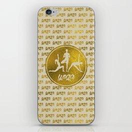 Golden Yoga Asanas Symbols  on  pastel beige iPhone Skin
