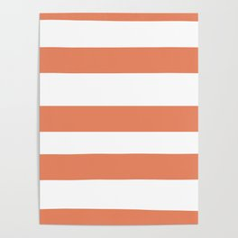 Fringe Orange, Orange Slice, Fiery Sky, Heirloom Tomato Orange Hand Drawn Fat Horizontal Lines Poster