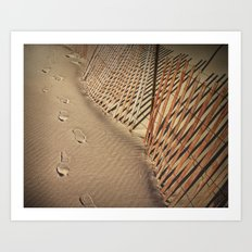 Footprints on the Beach by the Sand Fence  No 136 Art Print