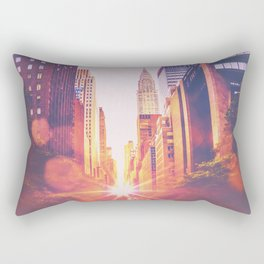 New York City Bokeh Sunset Rectangular Pillow