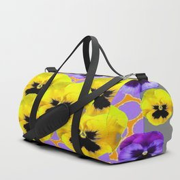 YELLOW & PURPLE SPRING PANSIES ART Duffle Bag