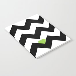 Heart & Chevron - Black/Green Notebook