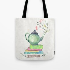 Books & Tea Watercolor Tote Bag