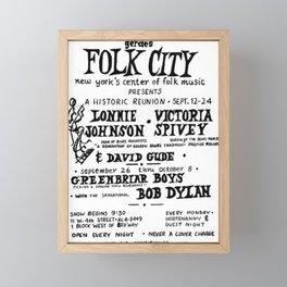Vintage 1961 Bob Dylan Concert Billboard Poster Framed Mini Art Print