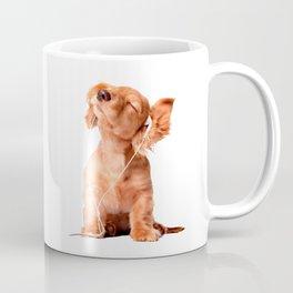 Young Puppy Listening to Music on Headphones Coffee Mug