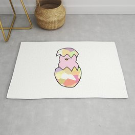 Cute Pink Baby Chick - a hatching chicken for spring and Easter Rug