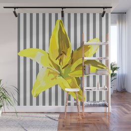 yellow and grey stripes Wall Mural