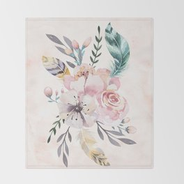 Forest Floral Pink by Nature Magick Throw Blanket