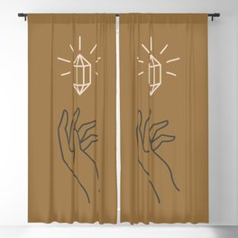Mid Century Magic 94 Neutral Tones Magical Hand Crystal Bohemian Boho Mystical Style Blackout Curtain