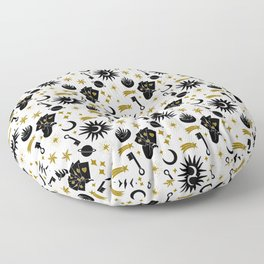 Sun and Moon and Divine Energy | Esoteric Pattern | Black and Gold Floor Pillow