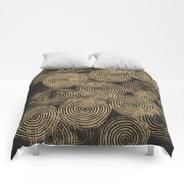 Radial Block Print in Charcoal and Gold Comforters