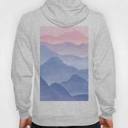 Magical Candy Hand-painted Watercolor Mountains, Airy Mountain Landscape in Pastel Blush Pink, Purple and Blue Color Hoody