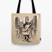 zombies Tote Bags featuring Zombies by Ronan Lynam
