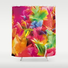 Fluo Feathers Shower Curtain