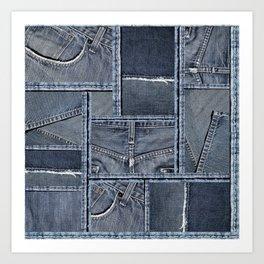 Blue Jeans Denim Patchwork Pattern Art Print