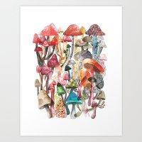 mushroom Art Prints featuring Mushroom by Gel Jamlang