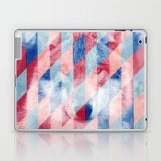 Red Blue Abstract Geometric Pattern Gray Wolf Head Laptop & iPad Skin