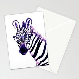 Zebra with glasses, purple Stationery Cards
