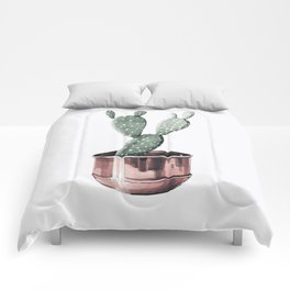 Potted Cactus Rose Gold Comforters