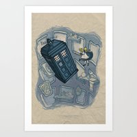hallion Art Prints featuring Falling by Karen Hallion Illustrations
