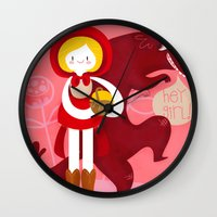red riding hood Wall Clocks featuring Red Riding Hood by genie espinosa