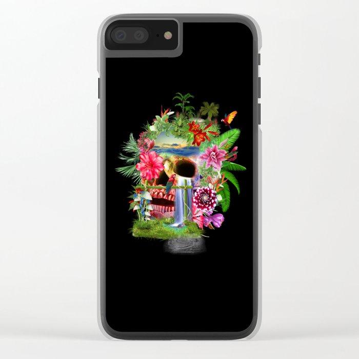 Tropical Skull II Clear iPhone Case