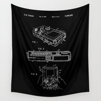 gameboy Wall Tapestries featuring Nintendo Gameboy Patent - White on Black by Elegant Chaos Gallery